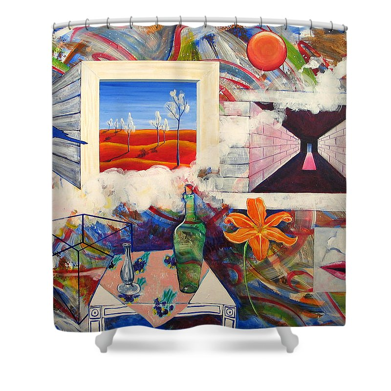 Landscape Shower Curtain featuring the painting Be Here Now by Rollin Kocsis