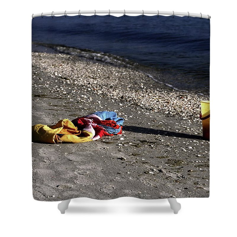 Sand Beach Shower Curtain featuring the photograph Be Right Back by Sally Weigand