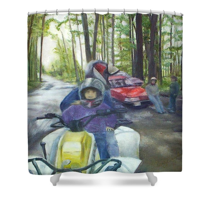 Quad Shower Curtain featuring the painting Be Right Back by Sheila Mashaw