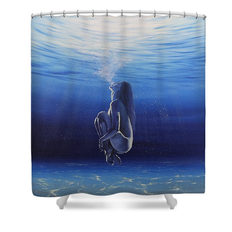 Underwater Shower Curtain featuring the painting Be Still And Breathe by Eva Volf