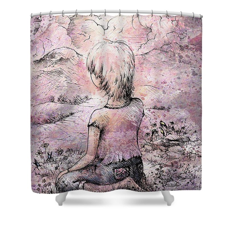 Figure Shower Curtain featuring the drawing Be Still by Rachel Christine Nowicki