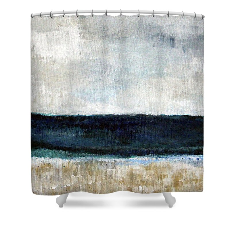 Beach Shower Curtain featuring the painting Beach- abstract painting by Linda Woods