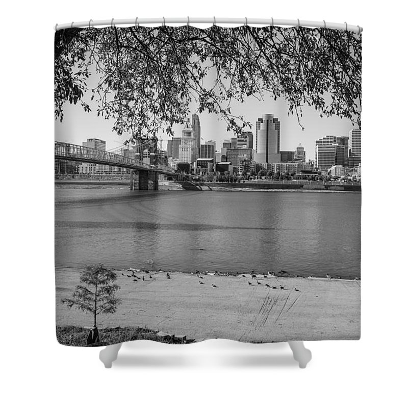 Cincinnati Shower Curtain featuring the photograph Beach An Cincinnati Skyline by John McGraw