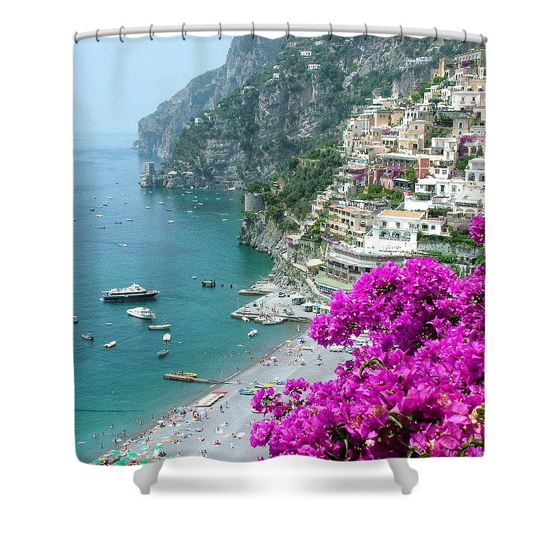 Positano Shower Curtain featuring the photograph Beach At Positano by Donna Corless