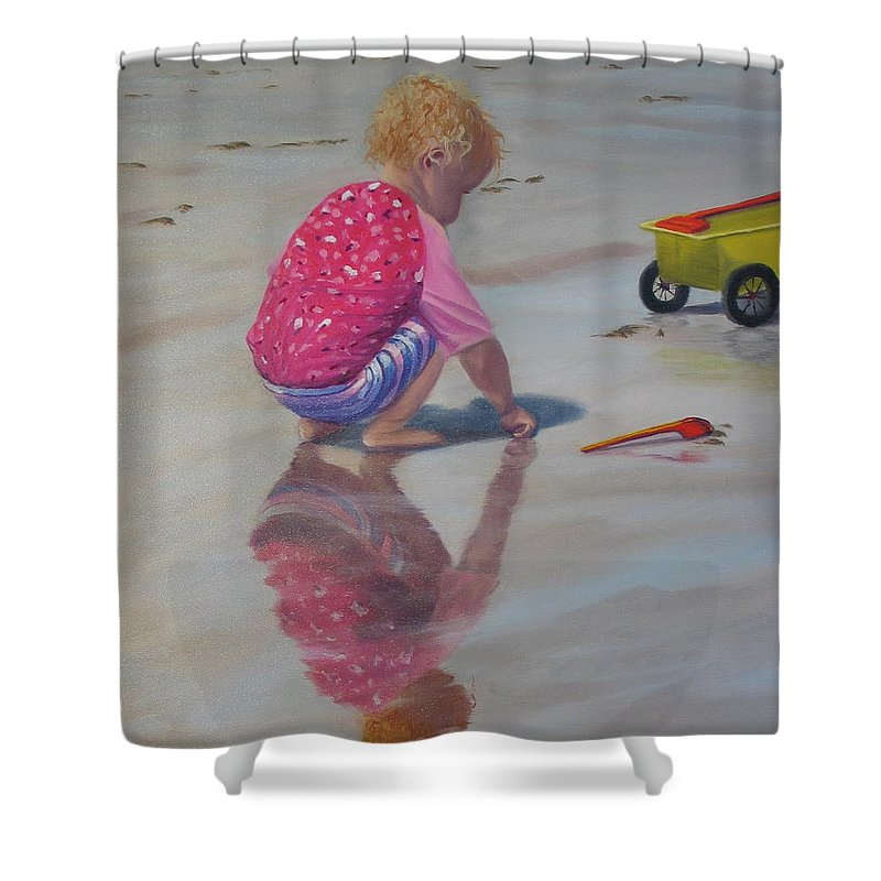 Baby Shower Curtain featuring the painting Beach Baby by Lea Novak