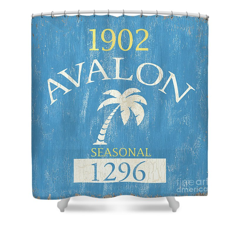 Beach Shower Curtain featuring the painting Beach Badge Avalon by Debbie DeWitt