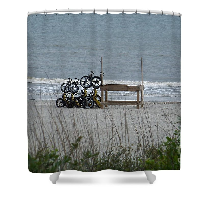 Bicycle Shower Curtain featuring the photograph Beach Bicycles by Carol Bradley