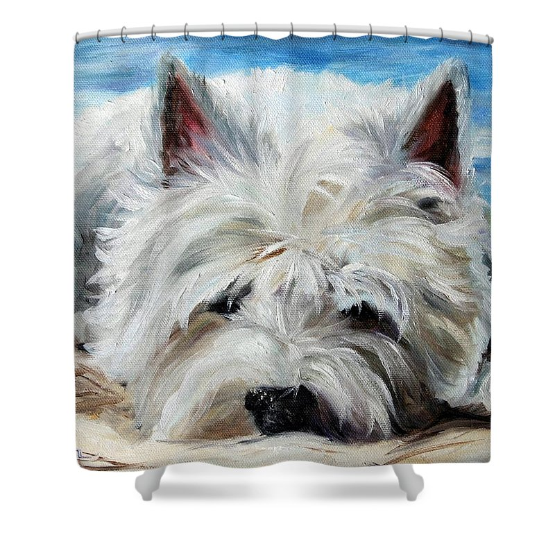 Art Shower Curtain featuring the painting Beach Bum by Mary Sparrow