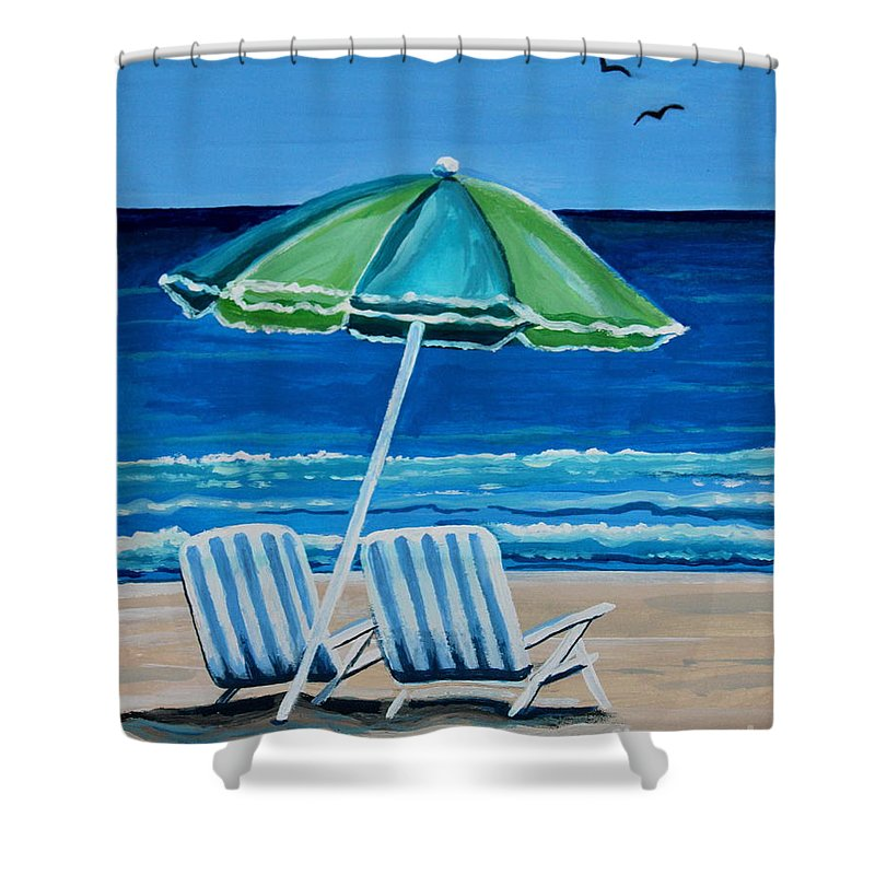 Beach Shower Curtain Featuring The Painting Chair Bliss By Elizabeth Robinette Tyndall