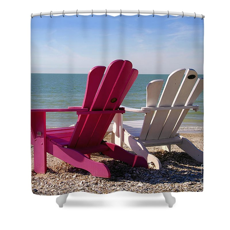 Beach Chairs Shower Curtain featuring the photograph Beach Chairs by David Lee Thompson