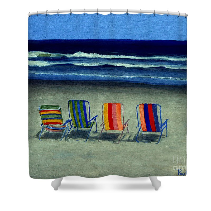 Beach Shower Curtain featuring the painting Beach Chairs by Paul Walsh