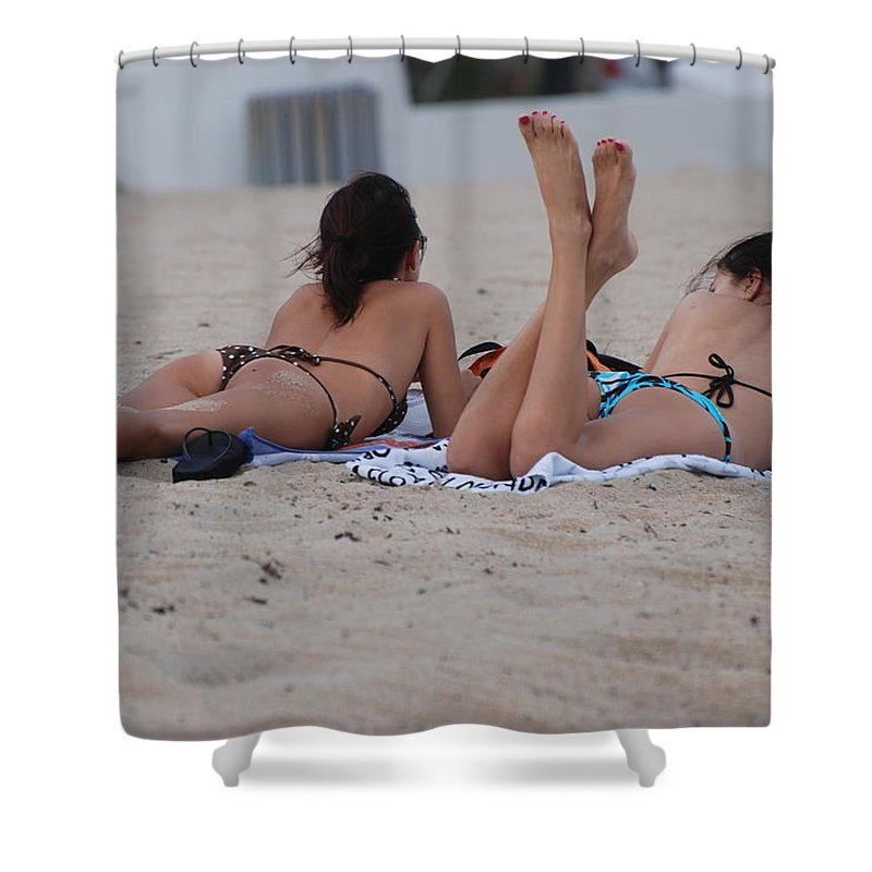 Girls Shower Curtain featuring the photograph Beach Combers by Rob Hans
