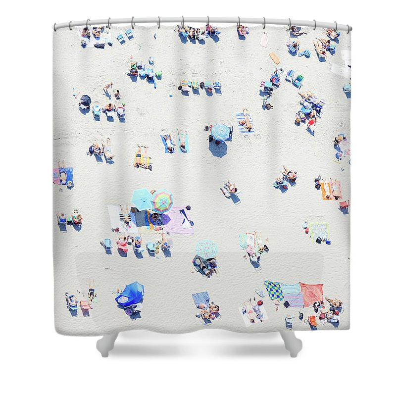Aerial Shower Curtain featuring the photograph Beach Confetti by Katherine Gendreau