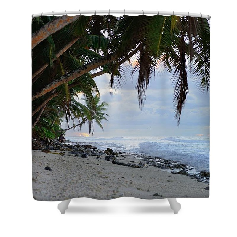 Blue Shower Curtain featuring the photograph Beach Corner by Michael Scott