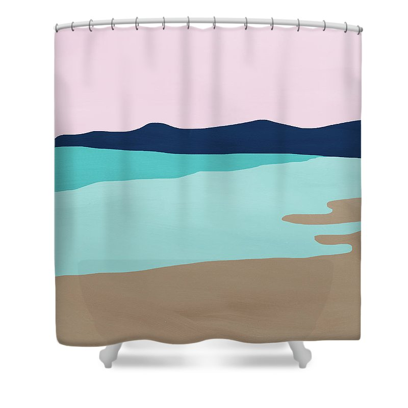 Beach Shower Curtain featuring the mixed media Beach Cove- Art by Linda Woods by Linda Woods