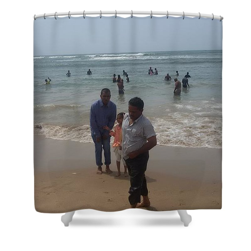 Sea Shower Curtain featuring the photograph Beach Front by Maraimalai K