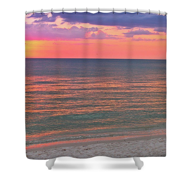 Beach Shower Curtain featuring the photograph Beach Girl And Sunset by Scott Mahon