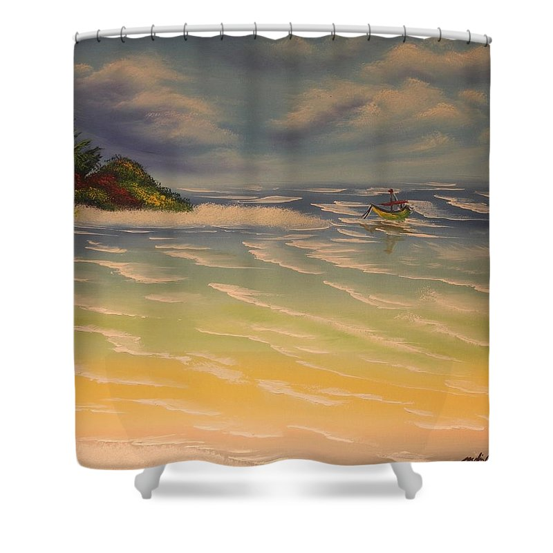 Beach Shower Curtain featuring the painting Beach Island by Nadine Westerveld