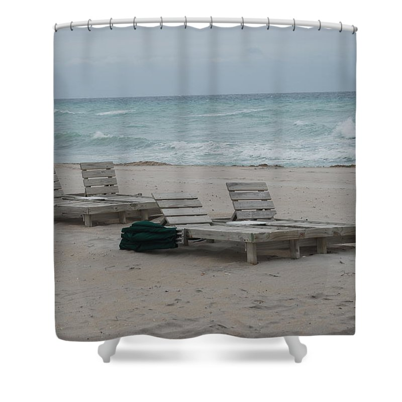 Chairs Shower Curtain featuring the photograph Beach Loungers by Rob Hans