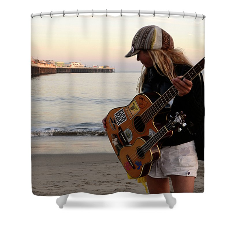 Pier Shower Curtain featuring the photograph Beach Musician by Bob Christopher