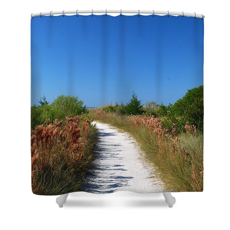 Sandy Path Shower Curtain featuring the photograph Beach Path by Gary Wonning