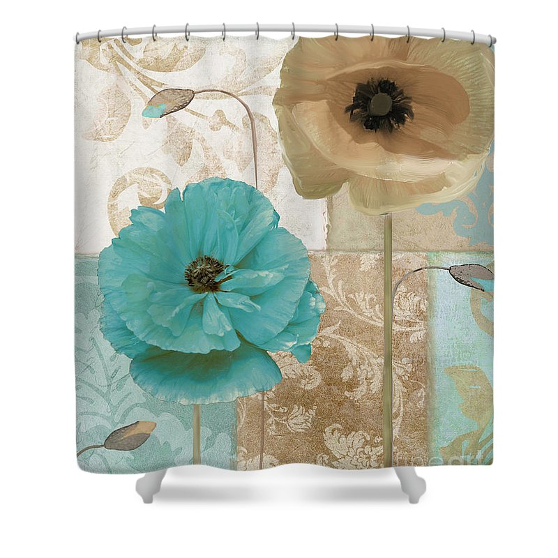 Beach House Shower Curtain featuring the painting Beach Poppies by Mindy Sommers
