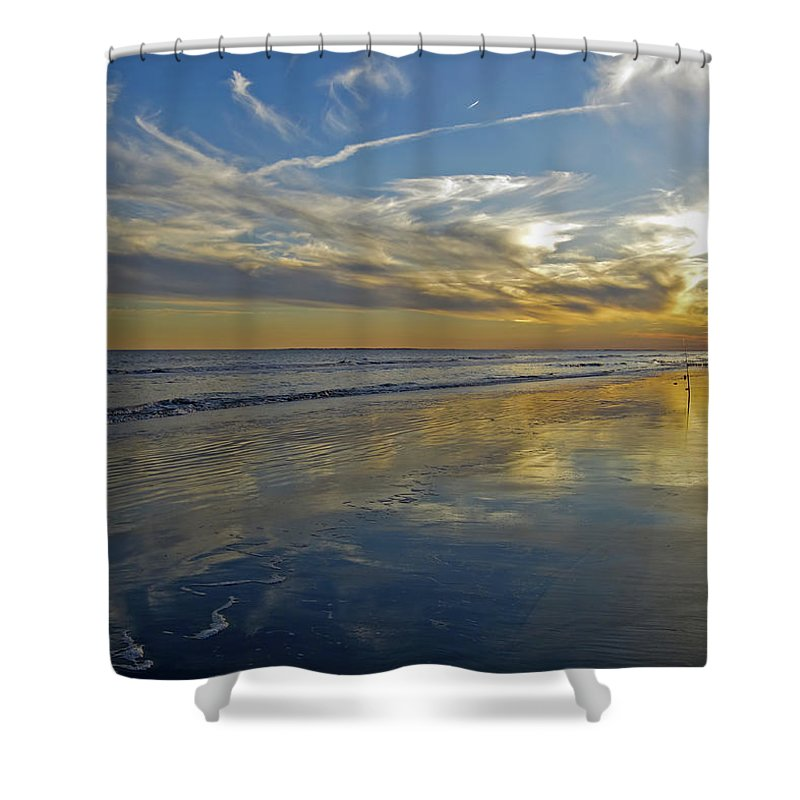 Beach Shower Curtain featuring the photograph Beach Reflections by Phill Doherty