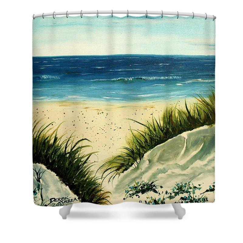 Beach Shower Curtain featuring the painting Beach Sand Dunes Acrylic Painting by Derek Mccrea