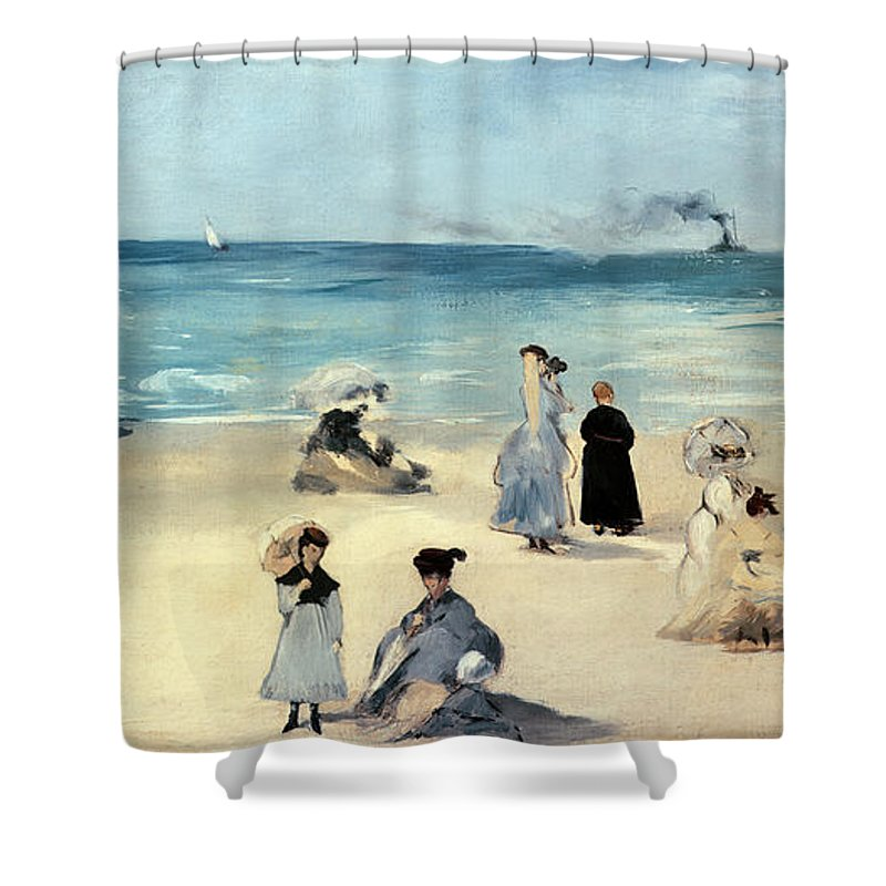 Beach Shower Curtain Featuring The Painting Scene By Edouard Manet
