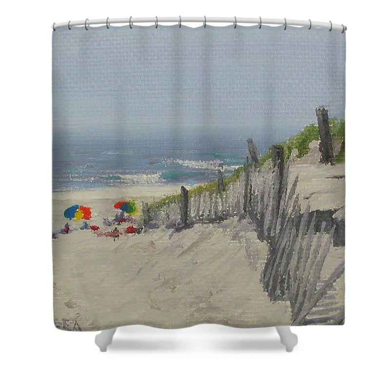 Beach Shower Curtain featuring the painting Beach Scene Miniature by Lea Novak