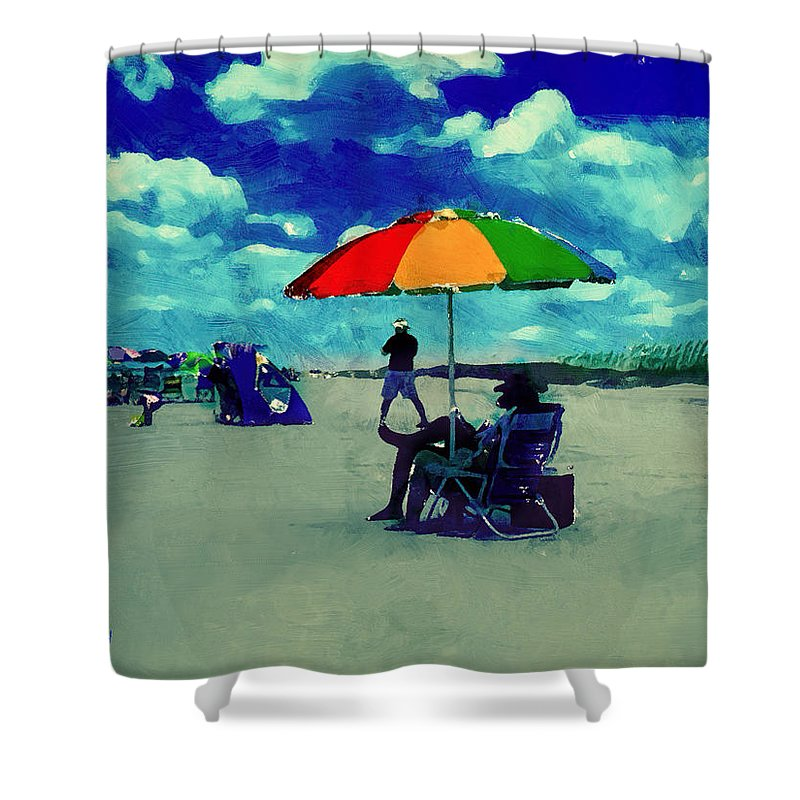 Beach Shower Curtain featuring the photograph Beach Scene Pawleys Island Sc by Gary Nelson