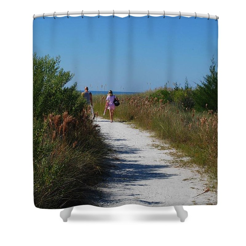 Walking Shower Curtain featuring the photograph Beach Stroll by Gary Wonning