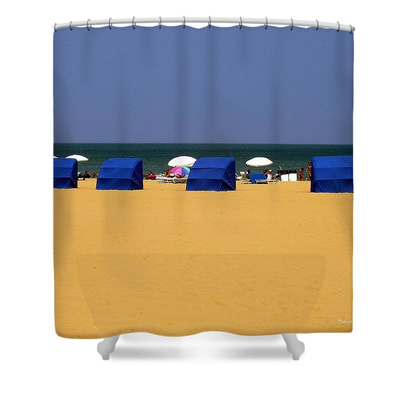 Beach Shower Curtain featuring the photograph Beach Tents by Deborah Crew-Johnson