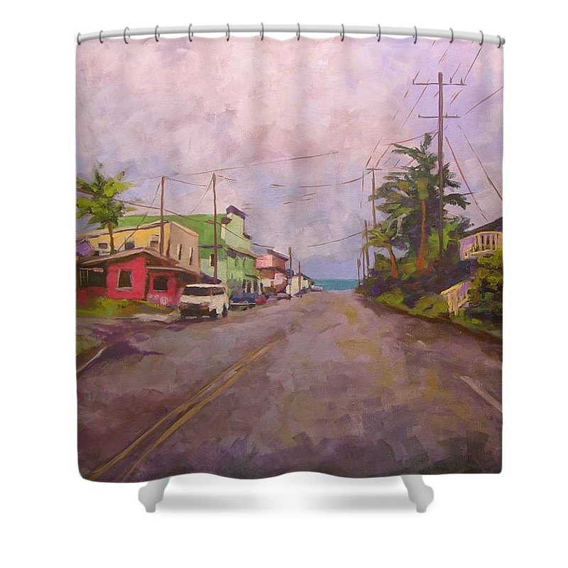 Tropical Shower Curtain featuring the painting Beach Town by Mary McInnis