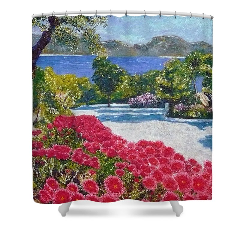 Landscape Shower Curtain featuring the painting Beach With Flowers by Ericka Herazo