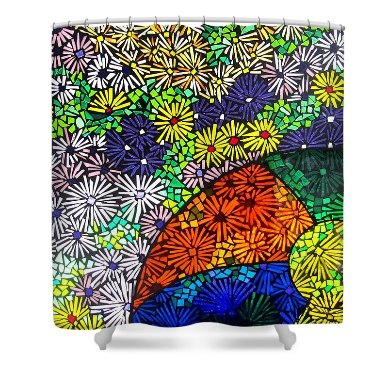 Shower Curtain featuring the glass art Beachballs And Daisies by Jeffrey Todd Moore
