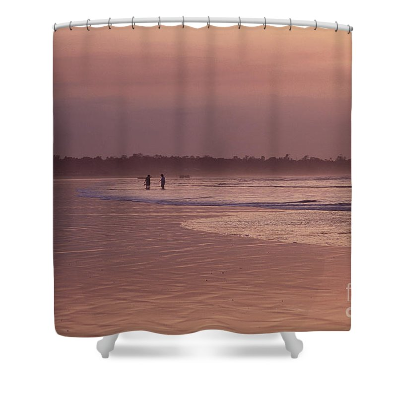 Ecuador Shower Curtain featuring the photograph Beachcombers by Kathy McClure