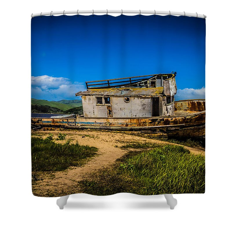 Old Shower Curtain featuring the photograph Beached Boat by Garry Gay