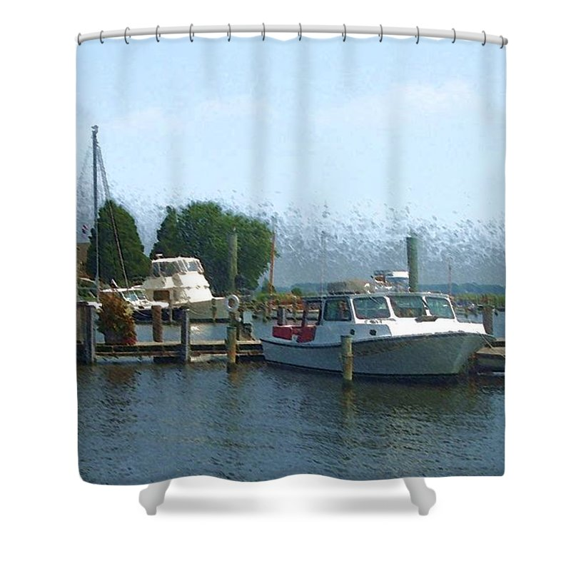 Boat Shower Curtain featuring the photograph Beached Buoys by Debbi Granruth
