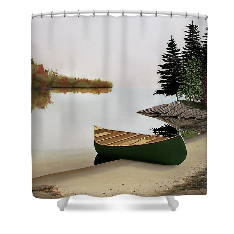 Canoe Paintings Shower Curtain featuring the painting Beached Canoe In Muskoka by Kenneth M Kirsch