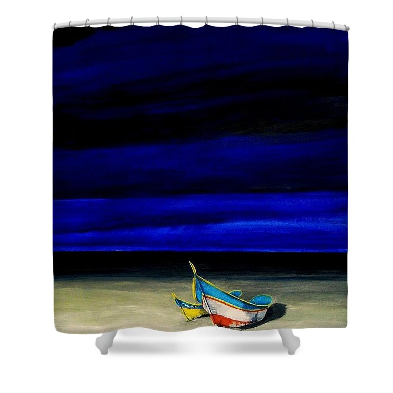 Landscape Painting Shower Curtain featuring the painting Beached by Edith Peterson