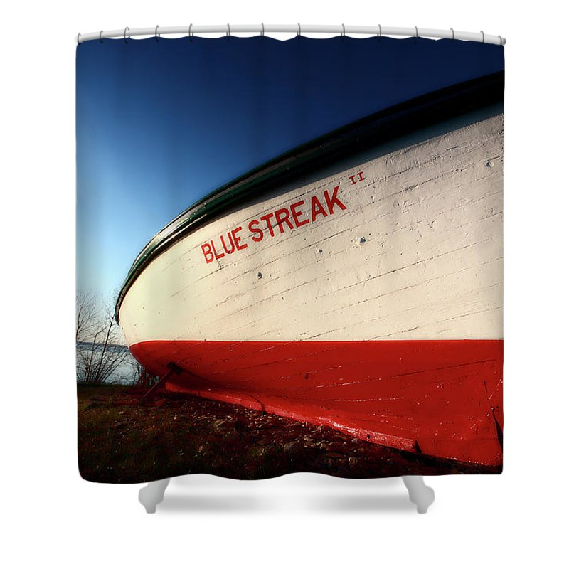 Fine Art Shower Curtain featuring the digital art beached fishing boat at Hecla on Lake Winnipeg by Mark Duffy
