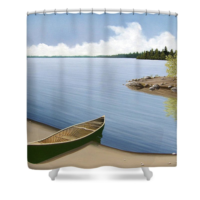 Canoe Shower Curtain featuring the painting Beached In Ontario by Kenneth M Kirsch