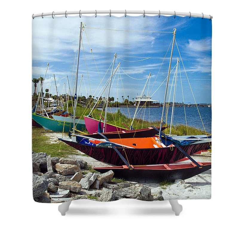 Sail; Sailing; Boat; Sailboat; Mast; Plywood; Homemade; Boy; Scouts; Fleet; Class; Dragon; Tiller; F Shower Curtain featuring the photograph Beached In Sebastian Florida by Allan Hughes
