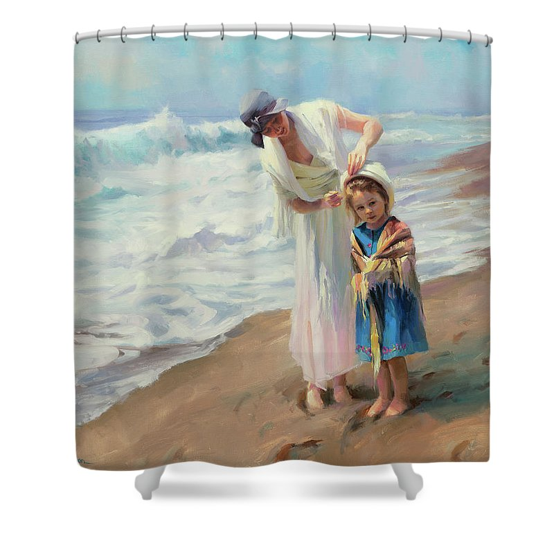 Beach Shower Curtain featuring the painting Beachside Diversions by Steve Henderson