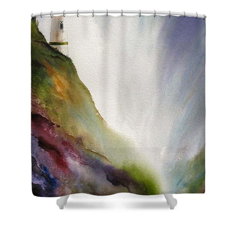 Lighthouse Shower Curtain featuring the painting Beacon by Karen Stark