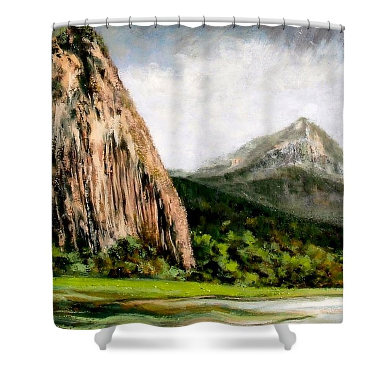 Landscape Shower Curtain featuring the painting Beacon Rock Washington by Jim Gola
