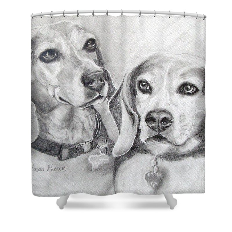 Dogs Shower Curtain featuring the drawing Beagle Boys by Susan A Becker