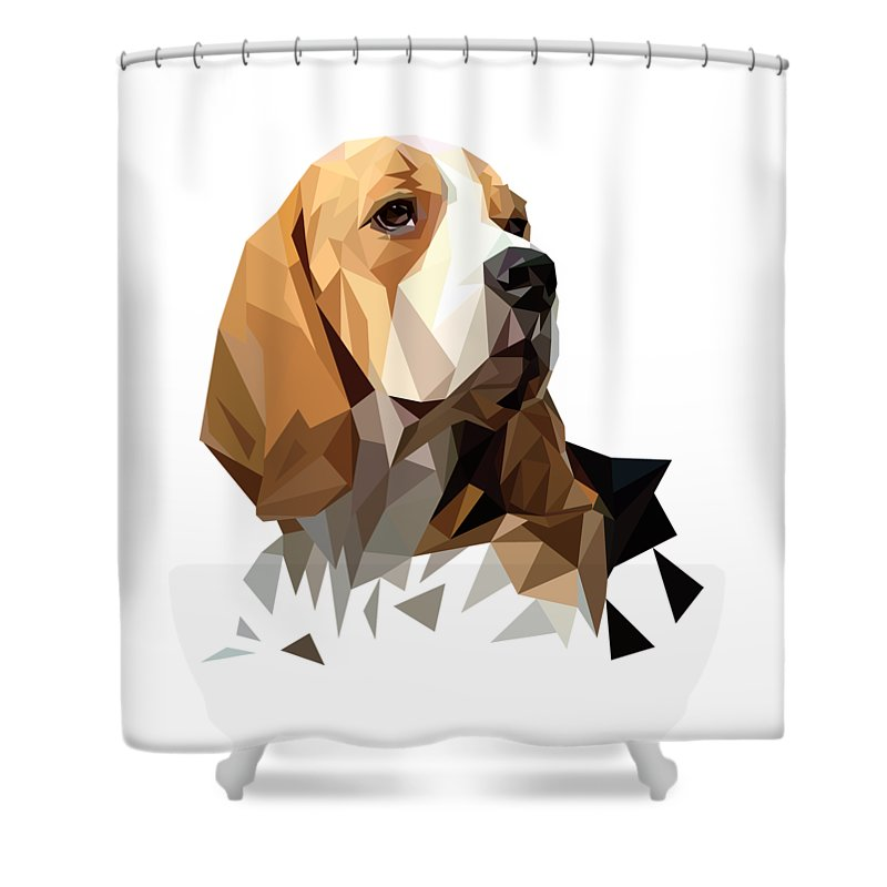 Geometric Shower Curtain Featuring The Digital Art Beagle Hunting Dog Head By James Bryson