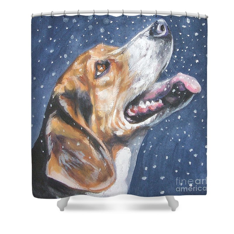 Beagle Shower Curtain featuring the painting Beagle In Snow by Lee Ann Shepard